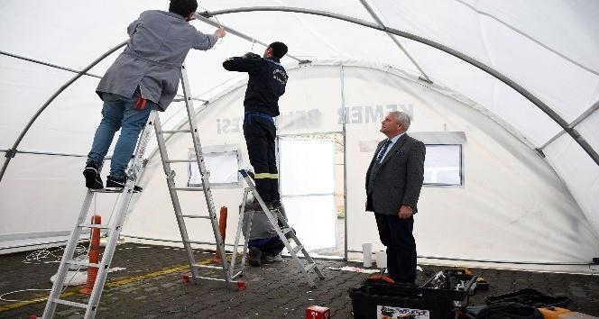 Kemer'de hastanelere sahra çadırı kuruluyor