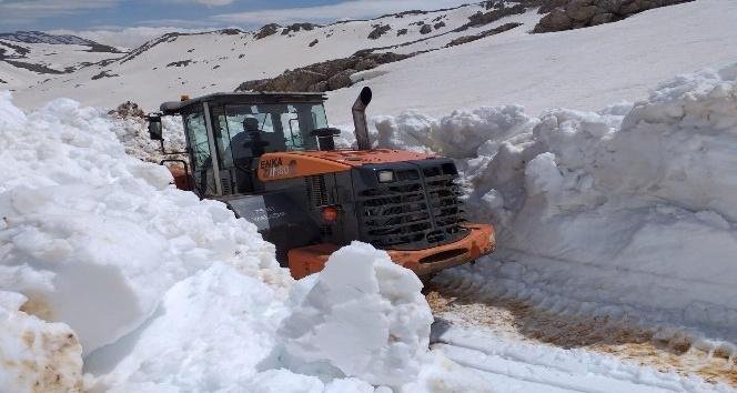 Karla kaplı Göktepe Yayla Yolu açılıyor