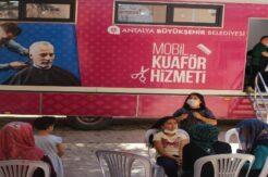 Mobil kuaför tırı Elmalı'da 331 vatandaşa hizmet verdi