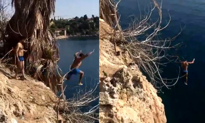 Antalya'da 20 metrelik falezlerden 'kafayı yemişsiniz' dedirten atlayış