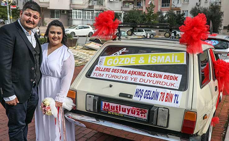78 bin TL ceza yedi; gelin arabasına 'Türkiye'ye aşkımızı duyurduk' yazdı