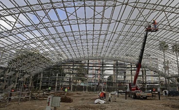Atatürk Kapalı Spor Salonu'nda yapı güçlendirme çalışması
