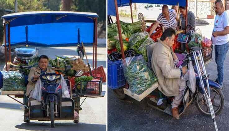 Yürüme engelli 'şekerci amca', motosikletiyle sebze meyve satıyor