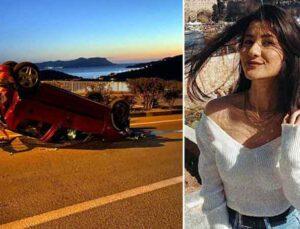Kayalıklara çarpan otomobilden fırlayan Burcu, öldü