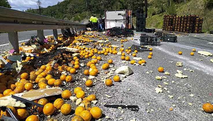 Mersin'de TIR devrildi; meyveler yola saçıldı