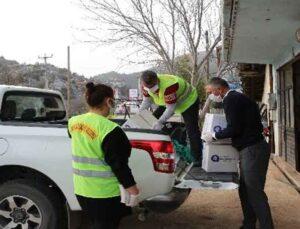 Karantinaya alınan mahalleye gıda yardımı