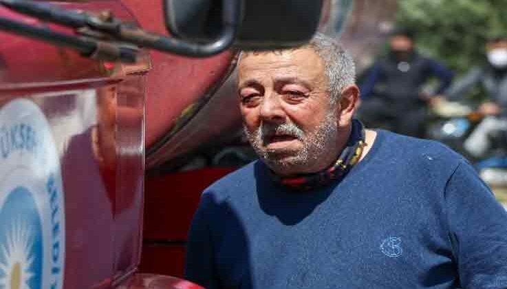 Ekmek teknesi alev alev yanan sürücü, gözyaşlarına boğuldu