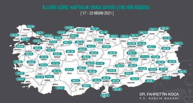 Antalya'nın 100 bin kişide görülen vaka sayısı artışını sürdürüyor