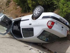 Takla atan araç bankete düştü: 1 yaralı
