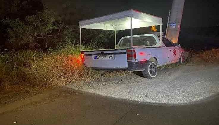 Elektrik direğine çarpan ticari araç sürücüsü yaralandı
