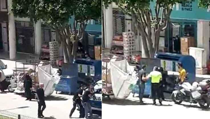 Kimlik vermek istemeyen kağıt toplayıcısıyla polis arasında ceza tartışması karakolda bitti