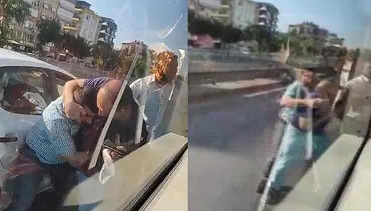Trafikte yolcu otobüsü şoförüne paspaslı saldırı