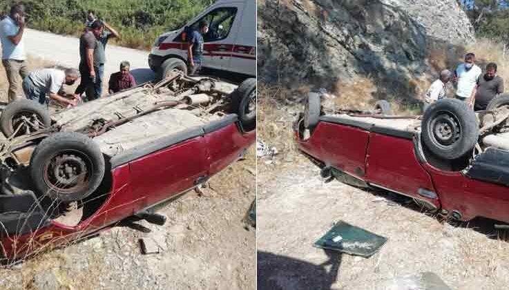 Araba şarampole devrildi: 1 yaralı