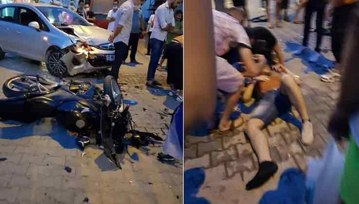 Alanya'da motosiklet otomobille çarpıştı: 1 yaralı