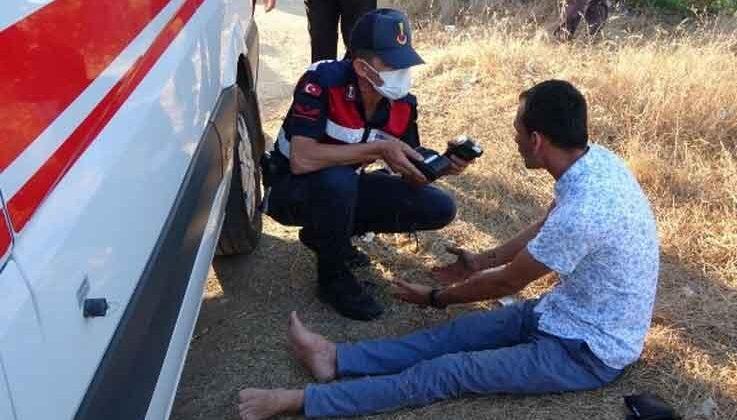 Biri camdan fırlayan iki kişinin yaralandığı kazada jandarmanın alkollü sürücüyle imtihanı