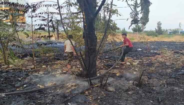 Boş arazide çıkan yangın paniğe yol açtı