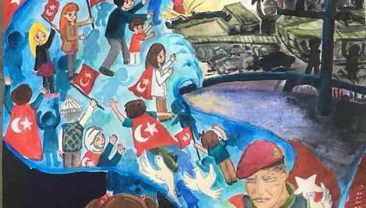 Alanyalı öğrenci 5 Temmuz resim yarışmasında Türkiye üçüncüsü oldu