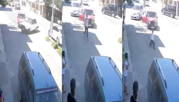 İçinde bulunduğu otomobile çarpıp kaçan sürücüyü kovalarken düştü